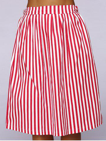 Latest Elastic Waist Striped Color Block Skirt