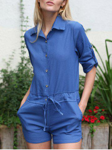 Online Shirt Collar Solid Color 3/4 Sleeve Lace-Up Jeans Rompers