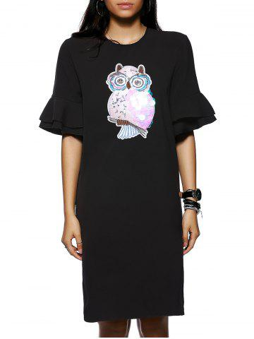 Chic Owl Pattern Sequined Design 1/2 Sleeve Shift Dress BLACK M