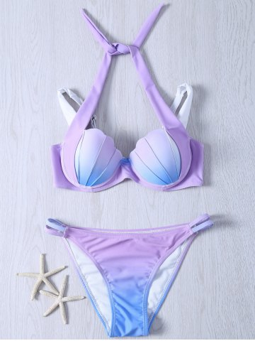 Chic Alluring Halter Gradient Color Bikini Swimwear COLORMIX 2XL