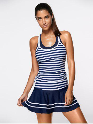 Striped Tankini Bathing Suit Swimwear - Blue And White - S