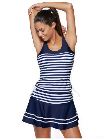 Store Striped Padded Racerback Skirted Tankini Swimwear - XL BLUE AND WHITE Mobile