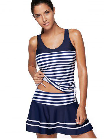 Fancy Striped Padded Racerback Skirted Tankini Swimwear - XL BLUE AND WHITE Mobile