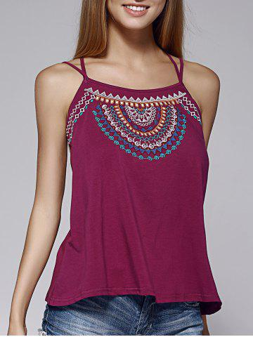Trendy Chic Spaghetti Strap Embroidered Criss-Cross Women's Tank Top