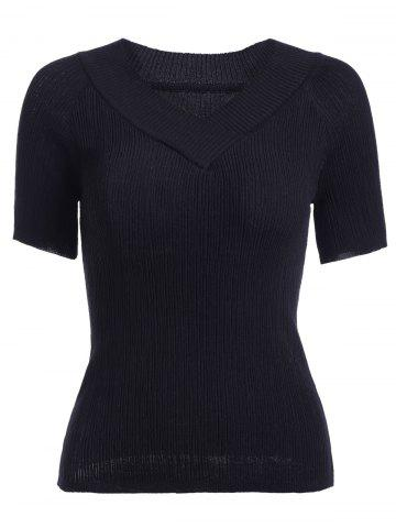 Discount Knitted V Neck T-Shirt