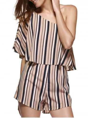 Affordable Alluring One Shoulder Stripe Flounce Palazzo Romper For Women