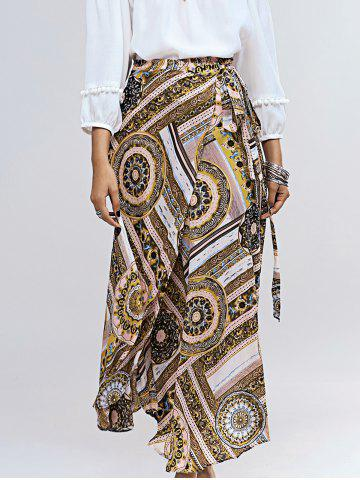 Shop Vintage Abstract Pattern Tie Side Women's Asymmetrical Skirt