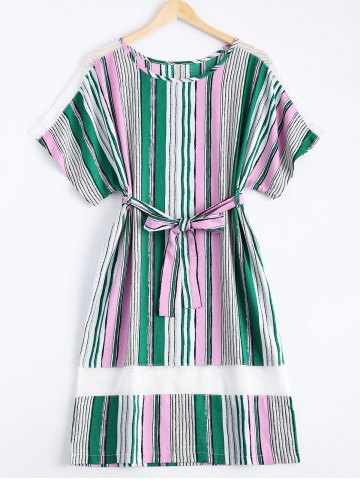 Buy Preppy Colorful Striped Belted Loose Midi Women's Dress