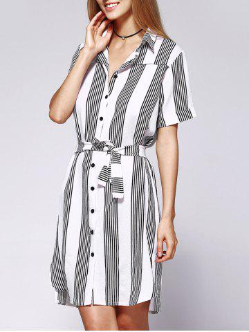 Shop Casual Stripe Loose Fitting Belted Shirt Dress For Women