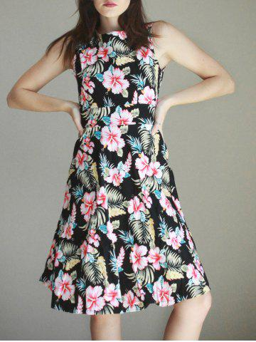 New Women's Vintage Sleeveless Round Neck Print Dress