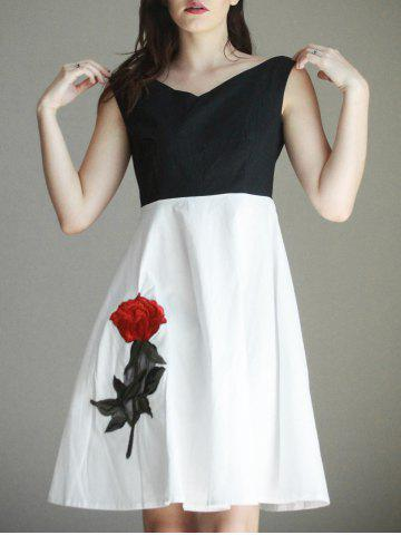Best Nice Boat Neck Embroidered Splice Women's Dress