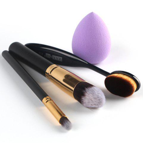 Fashion Stylish 4 Pcs/Set Blush Brush + Foundation Brush + Eyeshadow Brush + Sponge Blender