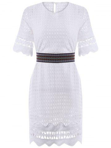Unique Sweet Half Sleeve Hollow Out Belted Dress For Women