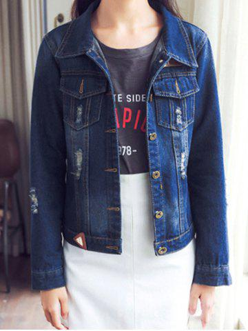 Discount Ripped Button Design Front Pockets Jacket