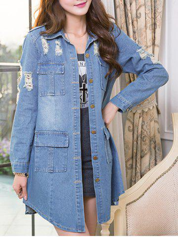 Trendy Ripped Single-Breasted Asymmetrical Denim Coat