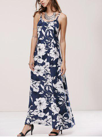 Cheap Spaghetti Strap Crossback Floral Print Maxi Dress