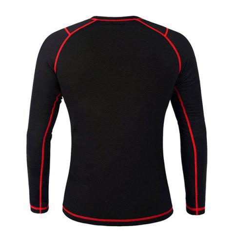 Trendy Professional Warmth Thermal Fleece Base Layer Cycling Long Sleeve Jersey For Unisex - L RED WITH BLACK Mobile