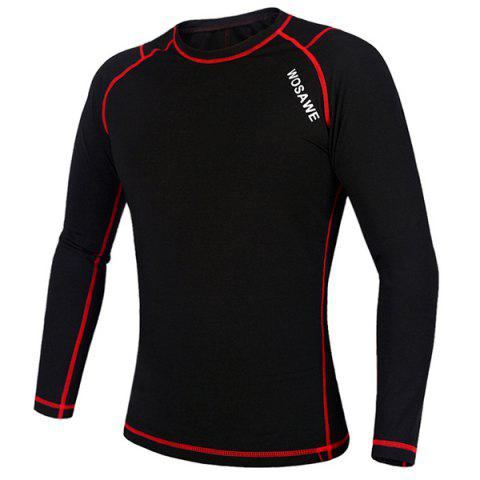 Fancy Professional Warmth Thermal Fleece Base Layer Cycling Long Sleeve Jersey For Unisex - L RED WITH BLACK Mobile
