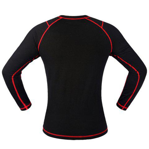 Online Professional Warmth Thermal Fleece Base Layer Cycling Long Sleeve Jersey For Unisex - L RED WITH BLACK Mobile
