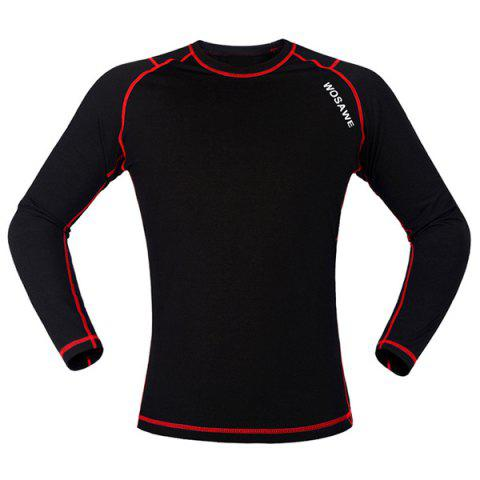 Sale Professional Warmth Thermal Fleece Base Layer Cycling Long Sleeve Jersey For Unisex - M RED WITH BLACK Mobile