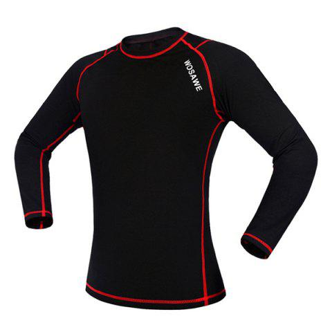Online Professional Warmth Thermal Fleece Base Layer Cycling Long Sleeve Jersey For Unisex - M RED WITH BLACK Mobile