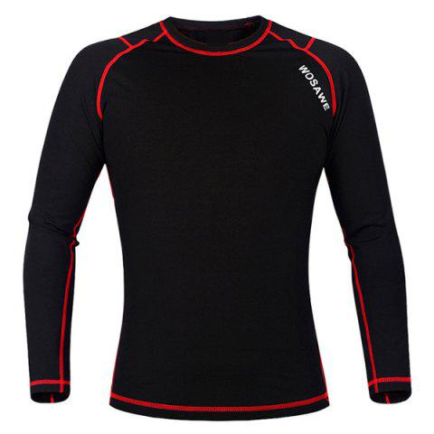 Fancy Professional Warmth Thermal Fleece Base Layer Cycling Long Sleeve Jersey For Unisex - M RED WITH BLACK Mobile