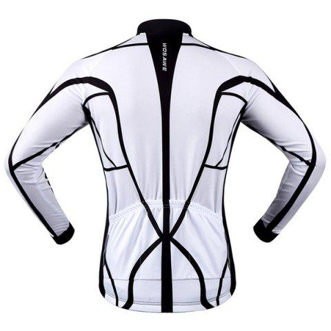 Shop Fashion Muscle Pattern Breathable Quick Dry Cycling Long Sleeve Jersey For Unisex - 2XL WHITE AND BLACK Mobile