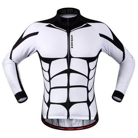 Fashion Muscle Pattern Breathable Quick Dry Cycling Long Sleeve Jersey For Unisex - White And Black - S