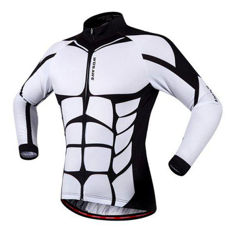 Cheap Fashion Muscle Pattern Breathable Quick Dry Cycling Long Sleeve Jersey For Unisex - S WHITE AND BLACK Mobile