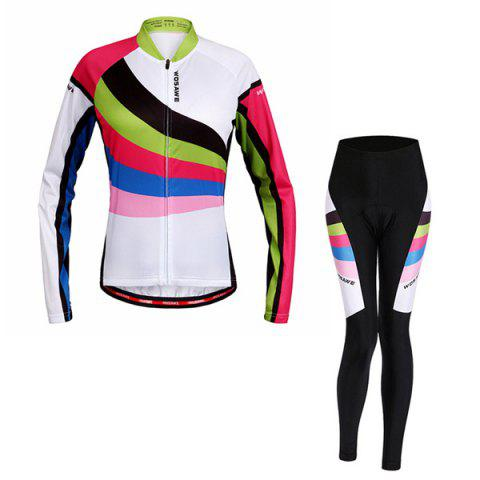 Fancy Multi-Colored Breathable Long Sleeve Jersey + Pants Outdoor Cycling Suits For Women
