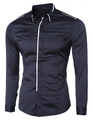 Online Turn-Down Collar Button-Down Linellae Design Long Sleeve Shirt For Men BLACK M