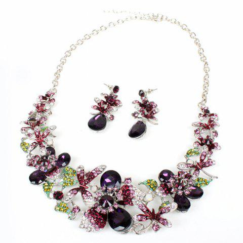 A Suit of Faux Amethyst Dragonfly Necklace and Earrings - PURPLE