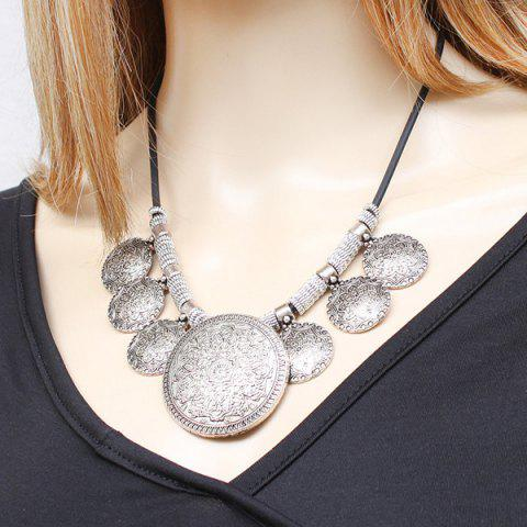 Hot Vintage Faux Leather Rope Engraved Floral Necklace SILVER