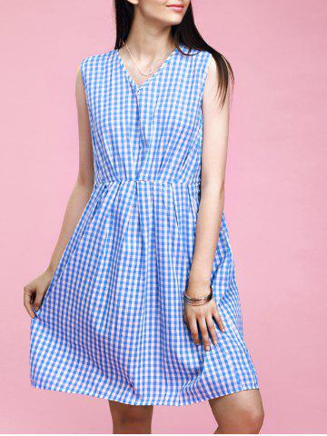 Shop Preppy Style Women's V-Neck Checkered High Waisted Dress