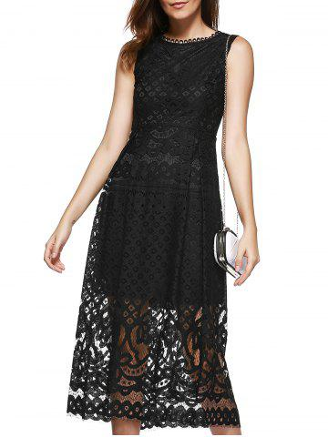 Lace Sheer Wedding Guest Tea Length Dress - Black - Xl