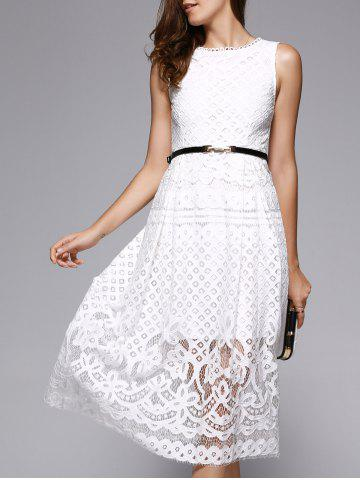 Sale Lace Sheer Wedding Guest Tea Length Dress WHITE L