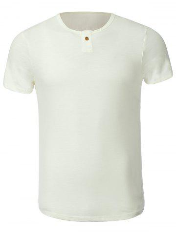 Store Cotton Blends Solid Color Button Embellished Round Neck Short Sleeve T-Shirt
