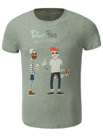 Buy Cotton Blends Cartoon Figure and Letters Print Round Neck Short Sleeve T-Shirt