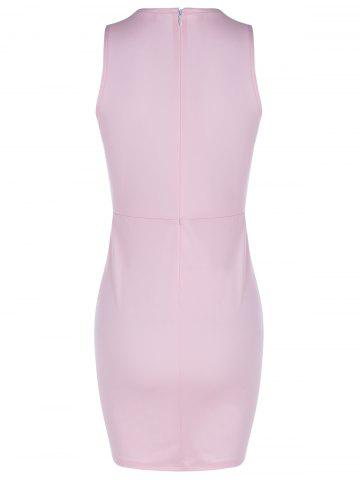 Unique Fashionable Fitted Scoop Neck Openwork Dress For Women - XL LIGHT PINK Mobile