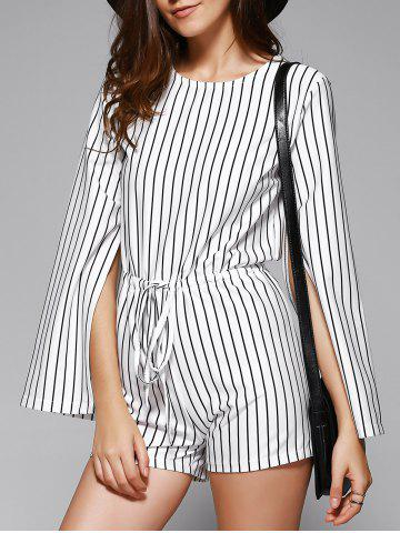 Fancy Elegant Women's Striped Cape Sleeve Cut Out Romper WHITE/BLACK ONE SIZE(FIT SIZE XS TO M)