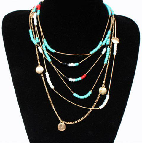 Sale Bohemian Style Faux Turquoise Beads Necklace