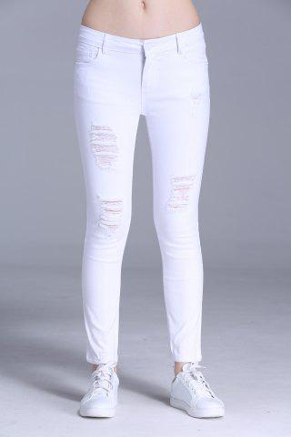 Discount Ripped Bodycon Ankle Pants