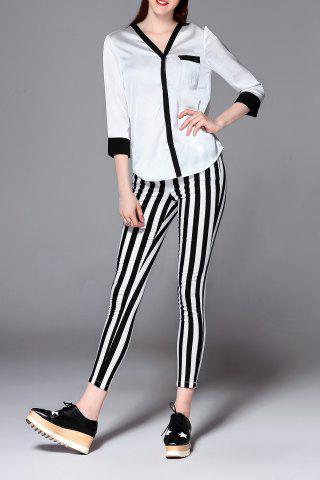 Chic Colorblock Satin Blouse with Stripe Pencil Pants