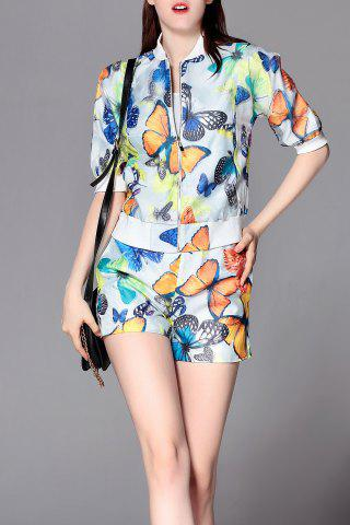Fancy Organza Butterfly Print Jacket and Print Shorts