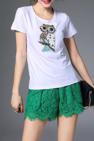 Affordable Beaded Owl Pattern T-Shirt and Lace Shorts