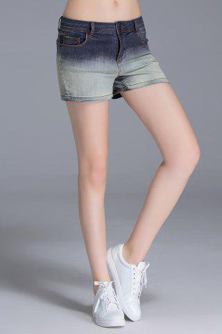 Sale Ombre Color Sheath Denim Shorts