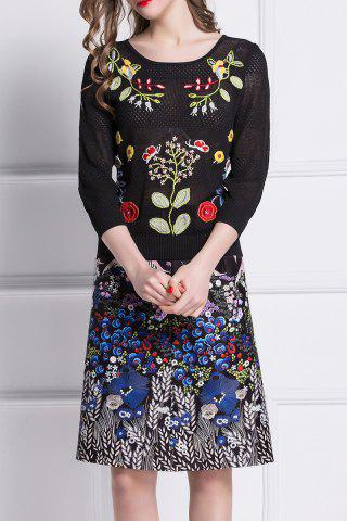 Buy Embroidered Sweater and Printed Skirt