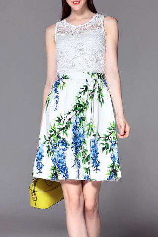 Outfits Printed A Line Skirt with Lace Top