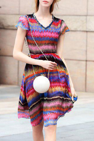 New V Neck Colorful Stripe Swing Dress