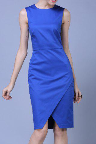Unique OL Style Pure Color Bodycon Dress